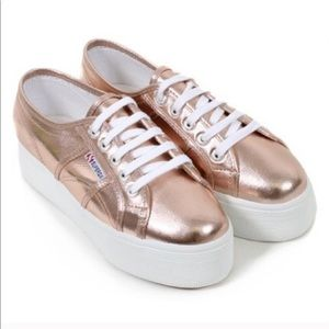 Superga Rose Gold Platform Sneakers